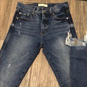 Distressed denim high rise slim straight jeans